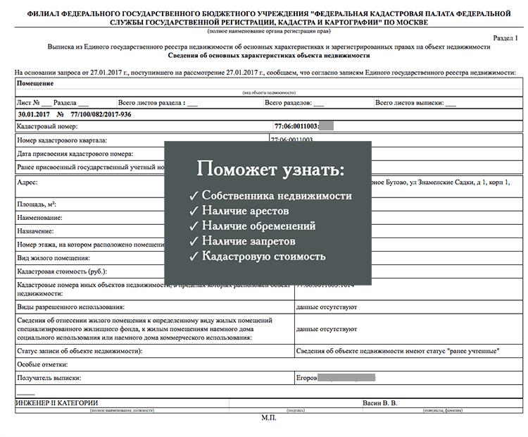 Заказ электронной Выписки из ЕГРН О выписке